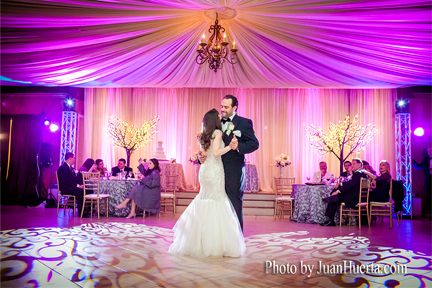 Elegant Décor Lighting by Houston Memorable Events at The Heights Villa event Center